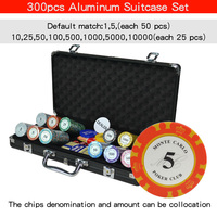 100-500 pcs/set Clay Poker Chip Sets Casino Texas Pokers Aluminum Suitcase with Playing cards&Dices&Dealer Buttom