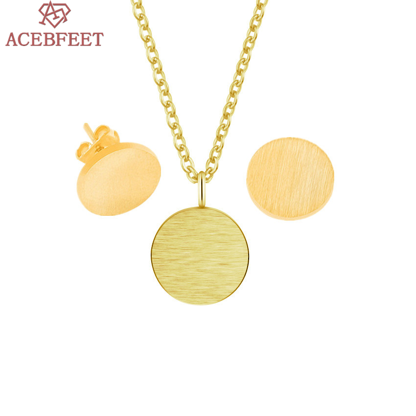 ACEBFEET Stainless Steel Circle Necklace Earrings Set Jewelry Rose Gold Simple Schmuck for Women Halskette Silver Ohrringe