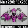 ABS plastic fairing kit for Kawasaki Ninja 250R 2008-2014 EX250 08 09-14 black flames in red Fairings ZX250R 2009 2010 2012