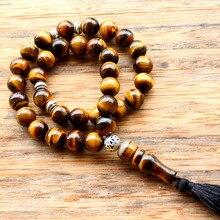 10Mm Tiger Eye Stoneพู่จี้ 33 สวดมนต์อิสลามมุสลิมTasbihอัลลอฮ์Mohammed Rosaryสำหรับผู้ชายผู้หญิง