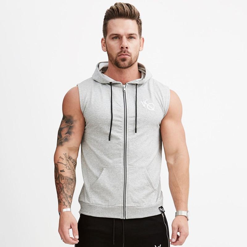 Men Running Shirts Compression Vest summer Gym Tank Top Fitness Sleeveless T shirts Sport Clothing hooded Running Vest