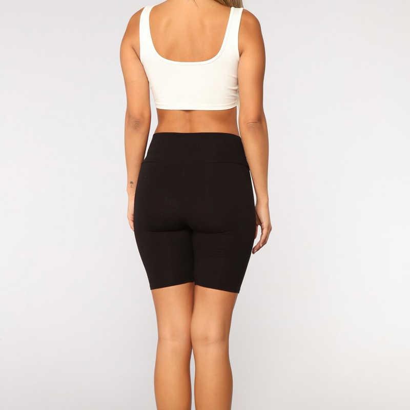 النساء رقيقة اللياقة البدنية سراويل قصيرة السيدات عادية بنطال ملاصق للجسم عالية الخصر الصيف أسفل الركبة طول السراويل السوداء Bodycon الشارع الشهير