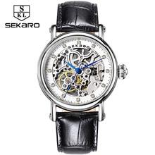 SEKARO бренд Для женщин механические часы с бриллиантами дамы ручным подзаводом Наручные часы кожа Мода Скелет циферблат подарок для женщины