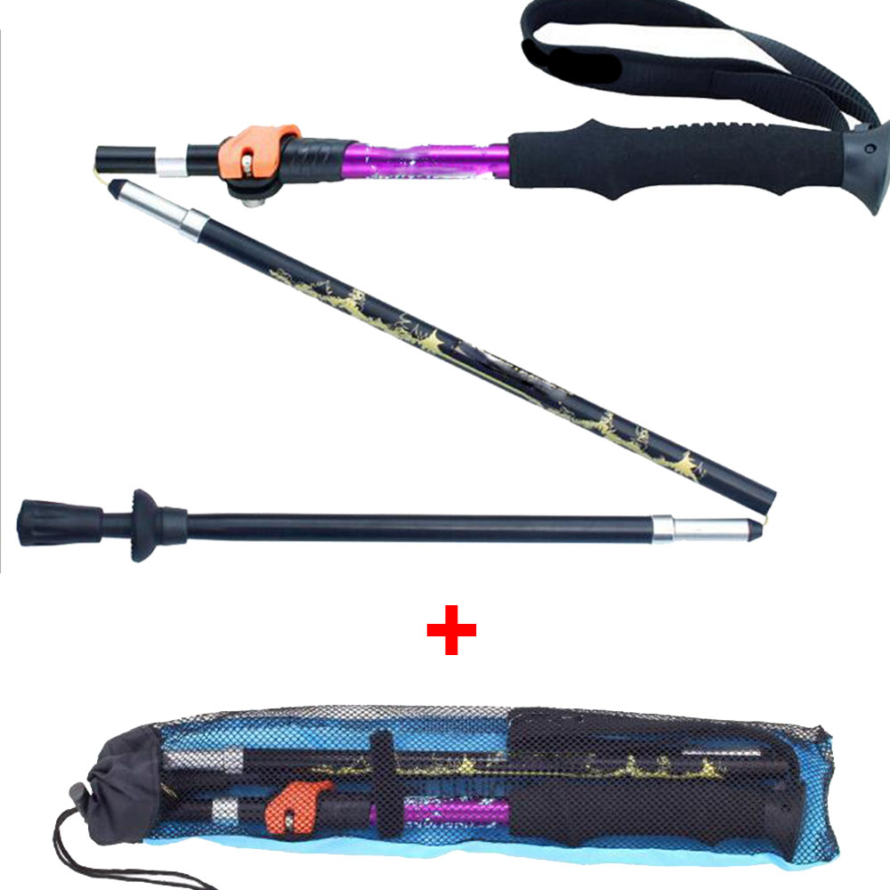 Trekking Poles Ultralight Folding Collapsible Trail Running Hiking Walking Sticks Lightweight Canes Suit collapsible цена 2017