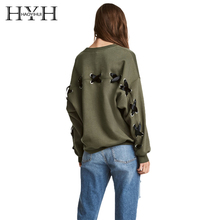 HYH HAOYIHUITwo Colors Women Casual Sweatshirts Black Green Lace Up Back O-Neck Long Sleeve Female Loose Pullovers Lady black flounced hem loose playsuit with back lace up design