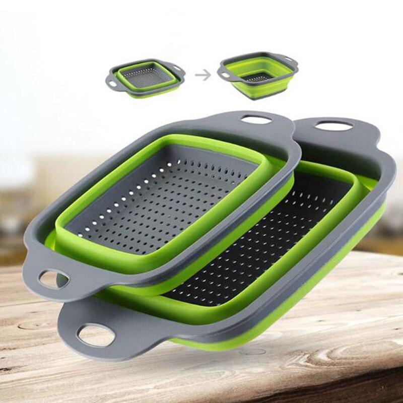 2pcs/set Foldable Strainer Basket Collapsible Colander Sets Square Shape Fruit Vegetable Washing Drainer Kitchen Baskets HRKS2