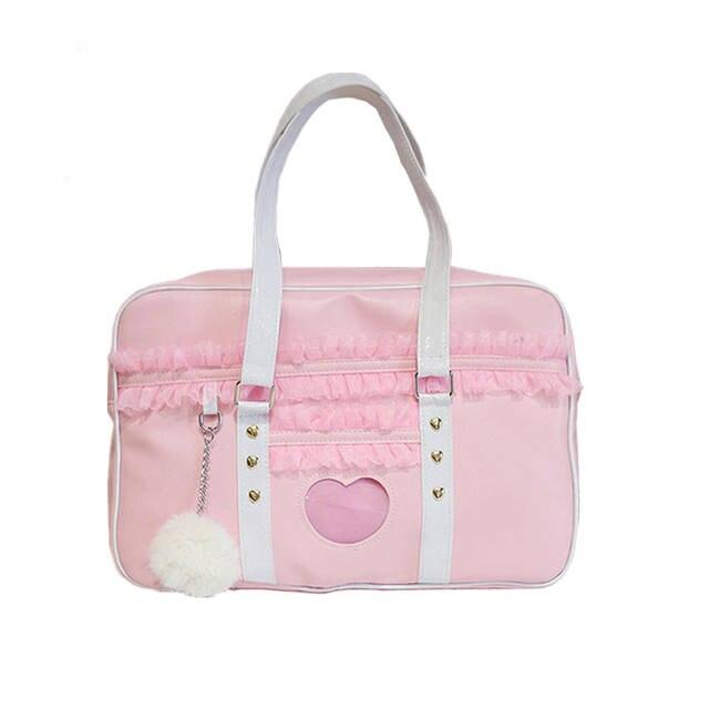 Us 17 09 10 Off Anese Uniform Pink Handbags Lacework Women Kawaii Messenger Bags Transpa Love Tote Bag Cute Crossbody In Shoulder