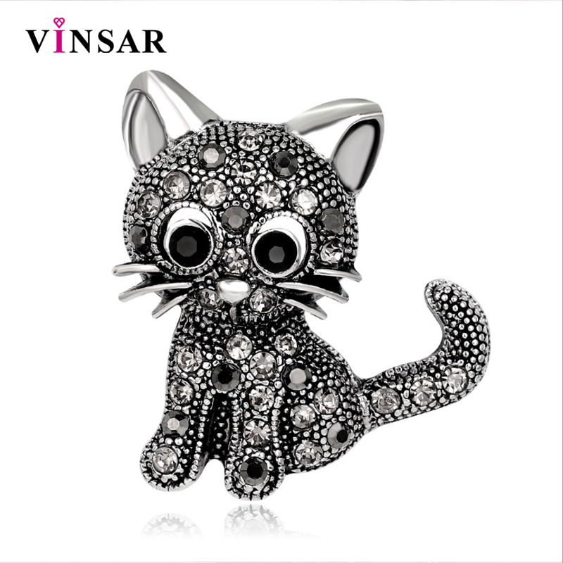 VINSAR Vintage Little Cat Brooches Pin up Suit Hats Clips Corsages Rhinestone Brooch for Women Clothing Dress Accessories DW08