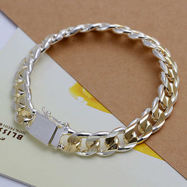 cc2ed82d666 MB1 925 Sterling Silver Men Jewelry Bracelet Silver Interval Gold 10mm Male  Bracelets Grain Square Homme Men's Chain Jewellery-in Chain & Link Bracelets  ...