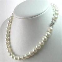 Wholesale Free Shipping 100 Natural Jewelry Genuine 8 9mm White Akoya Cultured Pearl Necklace 17 AA