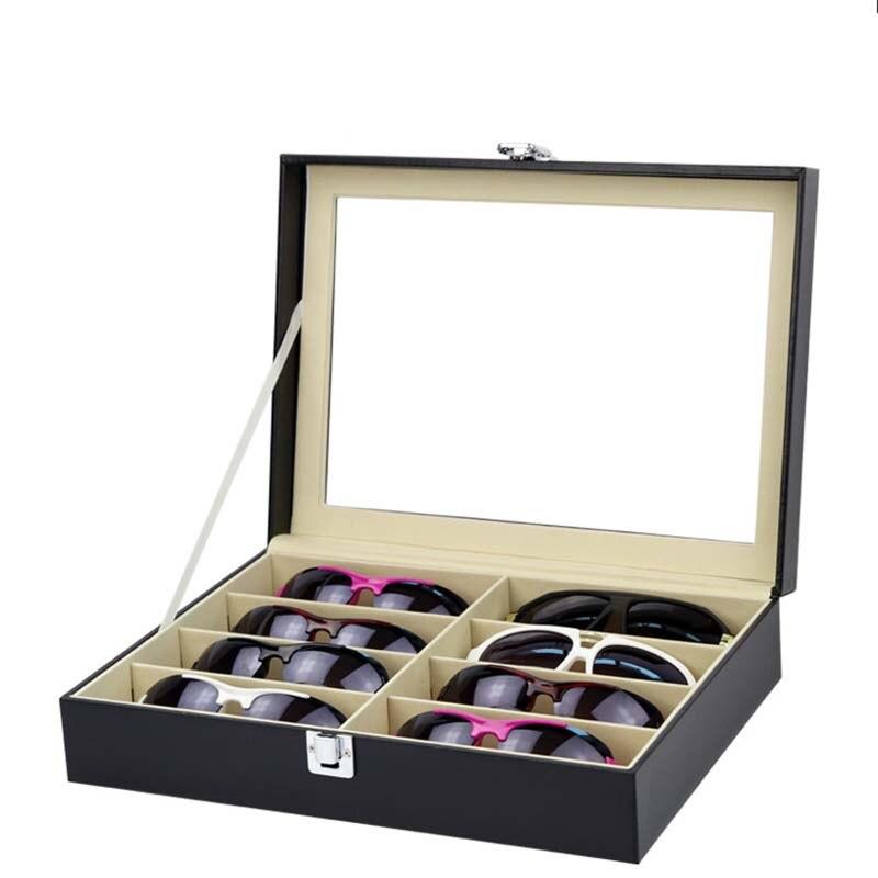 8 Girds lunettes de soleil présentoir en bois étui à lunettes de stockage pour organisateur de lunettes avec couvercle en verre transparent Organization décente