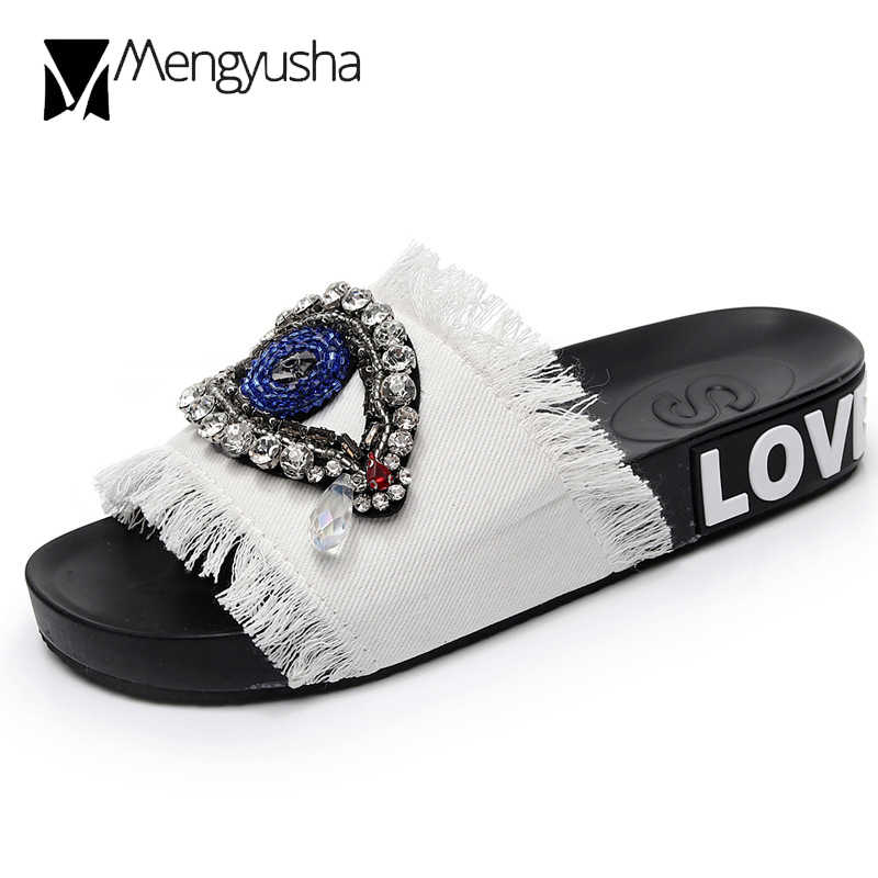 Handmade 5 colors denim slippers woman sandals outdoor crystal eyes decorate slides beading bling flipflops beach slip on shoes