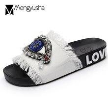 488982508 Olhos de cristal artesanal 5 cores denim chinelos mulher sandálias ao ar  livre decorar lâminas beading bling flip flops praia de.