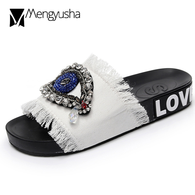 Handmade 5 colors denim slippers woman sandals outdoor crystal eyes  decorate slides beading bling flipflops beach slip on shoes 1e8b12b1cdc4