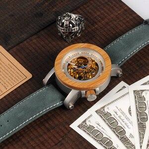 Image 5 - בובו ציפור WK13 במבוק Mechanica שעון Vintage ברונזה שלד שעון זכר עתיק Steampunk מזדמן כהה אוטומטי להקת Homme