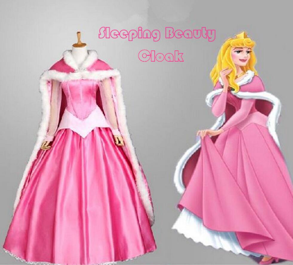 Sleeping Beauty Princess Aurora Pink//Blue adult Cosplay Costume Party Dress set