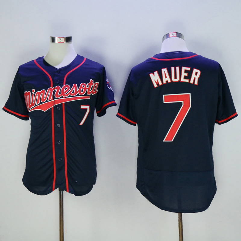 1079f379204 ... MLB Jersey 2016 New Fabric Mens Flexbase Version 7 Joe Mauer Jersey  Color Red Blue Navy White throwback ...
