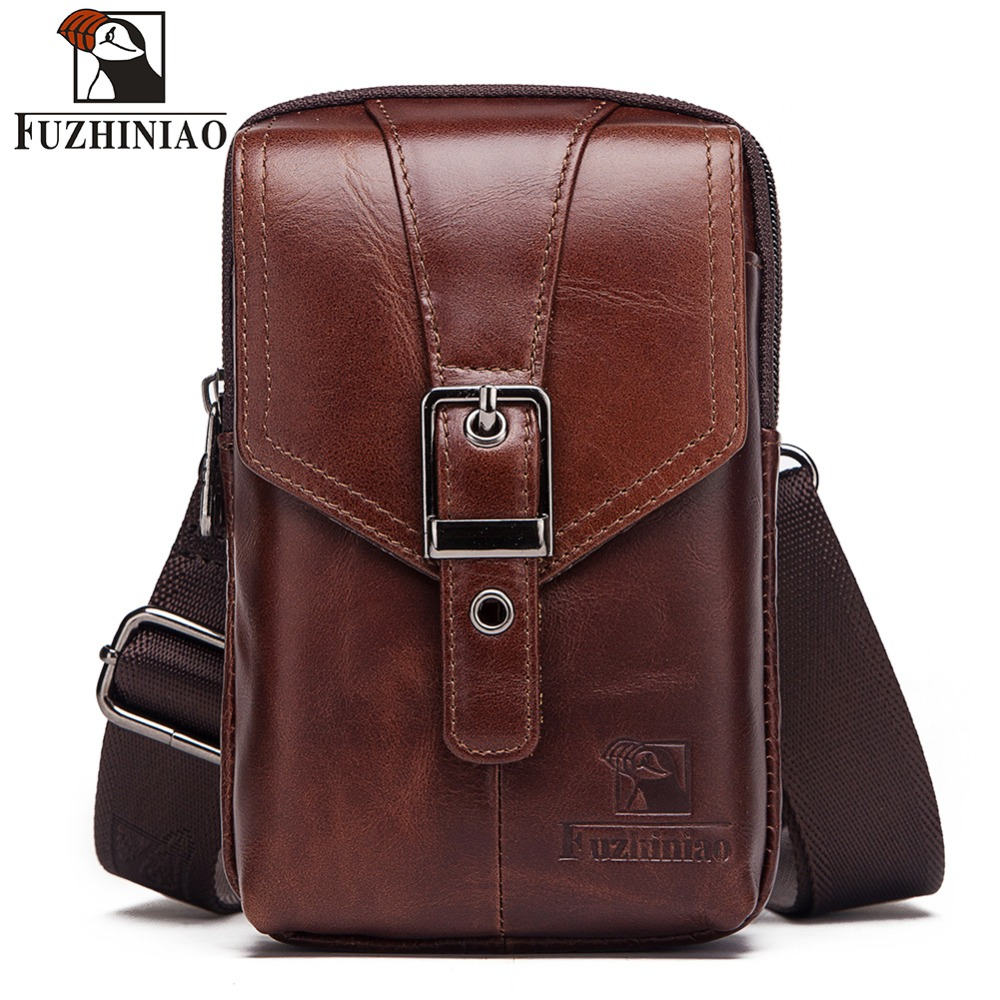 FUZHINIAO 2019 100% Genuine Cowhide Leather Men's Belt Bag Male Fanny Pack High Quality Men Shoulder Bags Chest Waist Pack
