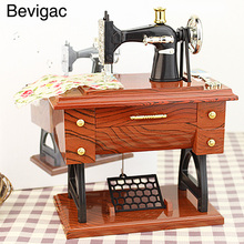 Bevigac Treadle Sewing Machine Style Musical Box Mini Handmade Classic Vintage Retro Birthday Gift Toy Music Box Home Decoration