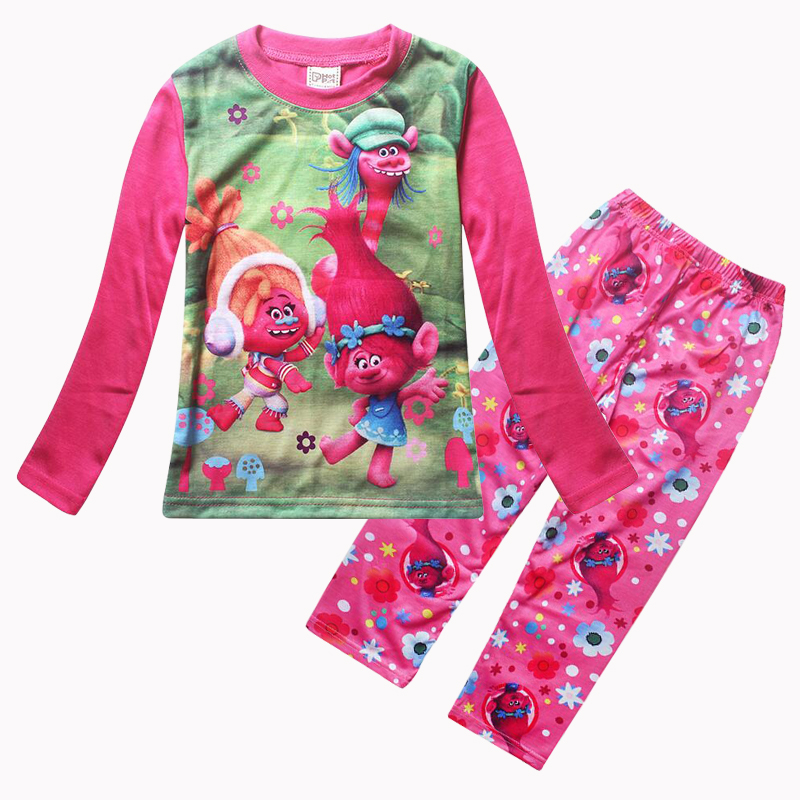 New TROLLS Girls Pajama Sets Spring Cartoon Cotton Clothing Set For Girls Long Sleeve Shirt + Pants 2 Pieces Suit Kids Clothing new hello kitty girls baby s sets spring cartoon velvet long sleeve children hoodies pants 2 pieces velour suit kids clothing