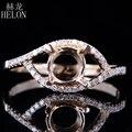 HELÓN Corte Redondo 7mm Joyería de Las Mujeres Anillo de Montaje Semi Sólido 10 K Diamantes Oro Amarillo Genuino de Bodas de Compromiso Anillo fino