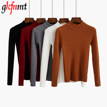 Women Sweater And Pullovers High Elastic Solid Top 2018 Fall Winter Fashion Slim Sexy O-Neck Korean Knitted Cotton