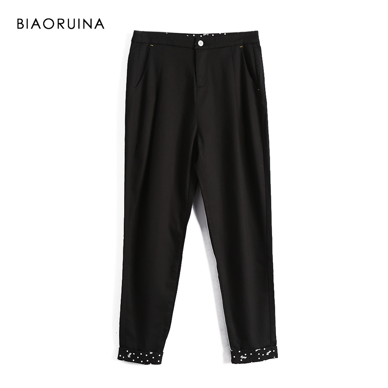 BIAORUINA Straight Pant Trousers Letter Printed Ankle-Length Black Female High-Waist