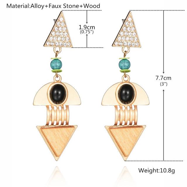 Gold Plated Wooden Long Drop Earrings