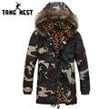 Tangnest camuflagem moda homens casaco de inverno 2017 novos homens confortável jaqueta parka com capuz grosso quente longo estilo mwm1396