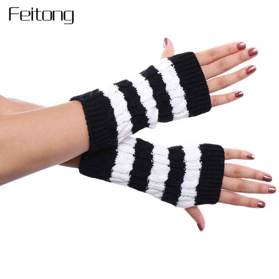 Responsible Womens Unisex Winter Knitted Fingerless Gloves Socks Set Rainbow Stripes Printed Colorful Thigh High Stockings Elbow Warmer Mitt Men's Gloves