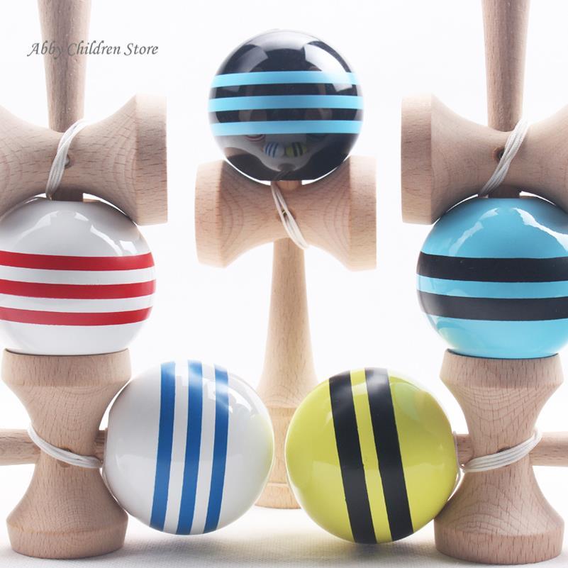 18.5 cm Rayé Kendama Coloré Peint Éducatifs En Bois Jouets Balle Jeu Habile Balle Cadeau pour les Enfants Enfants Jouet