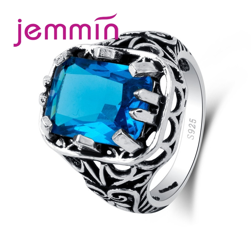 Vintage Retro Punk Rock Claw with Big Blue Zircon Stone CZ 925 Sterling Silver Ring Women Female Mens Ring Jewelry Gift