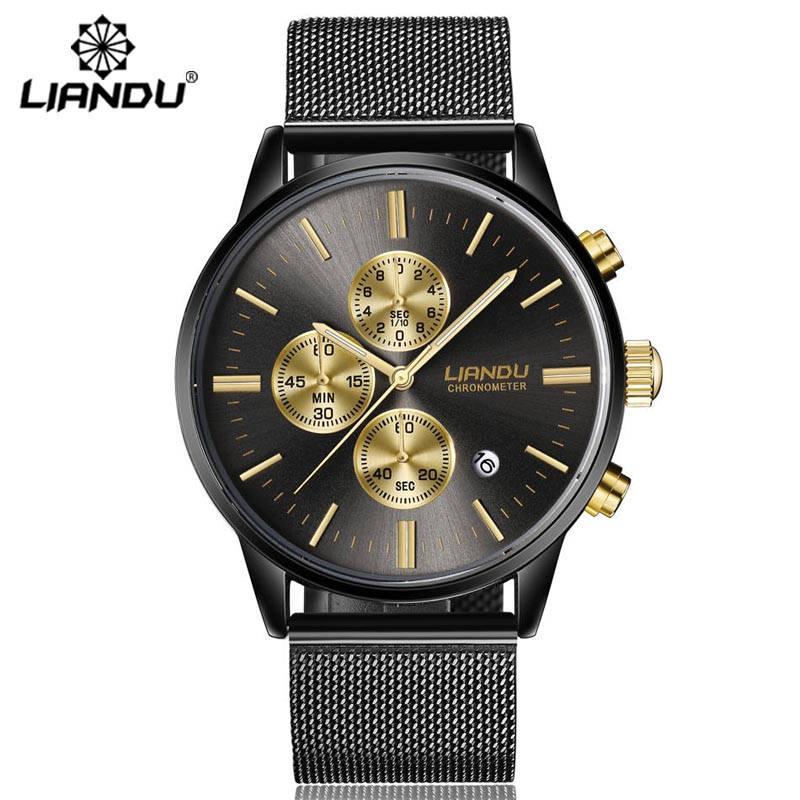 LIANDU Fashion Men's Luxury Chronograph Luminous Black Quartz Watch Simulated Stainless Steel Mesh With Watch zegarki meskie