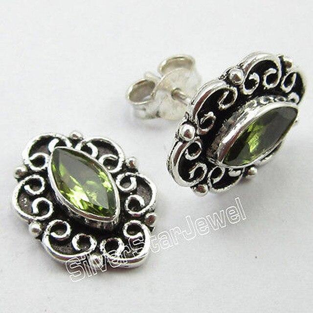 Pure Silver Marquise CUT GREEN PERIDOT OXIDIZED TIBETAN Stud Earrings 1.5 CM