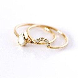 BOAKO Çift Yüzükler Kadınlar Için 0.2ct Su Damlası Altın rengi Lüks Ringen Gelin düğün takısı Nişan Yüzüğü bague femme X7-M2