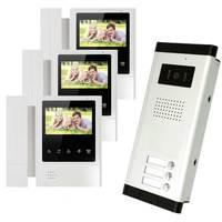 New Brand 4 3 Color Video Door Phone 3 Monitors With 1 Intercom Doorbell Can Control