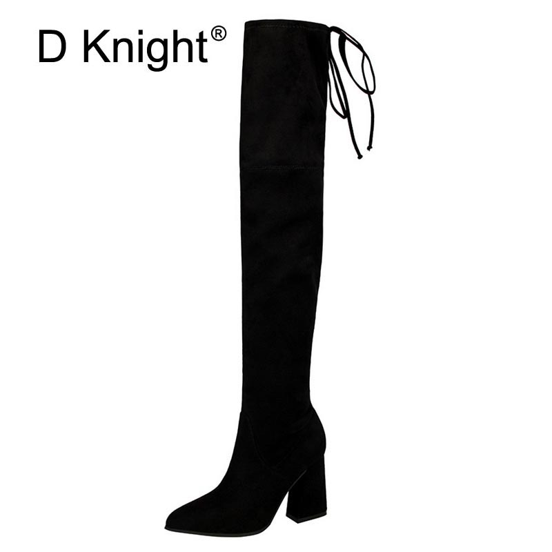 Sexy Ladies Casual Over The Knee Boots Fashion Pointed Toe Thick High Heels Women Ridding Boots Ladies Slim Fabric Autumn Boots цены онлайн
