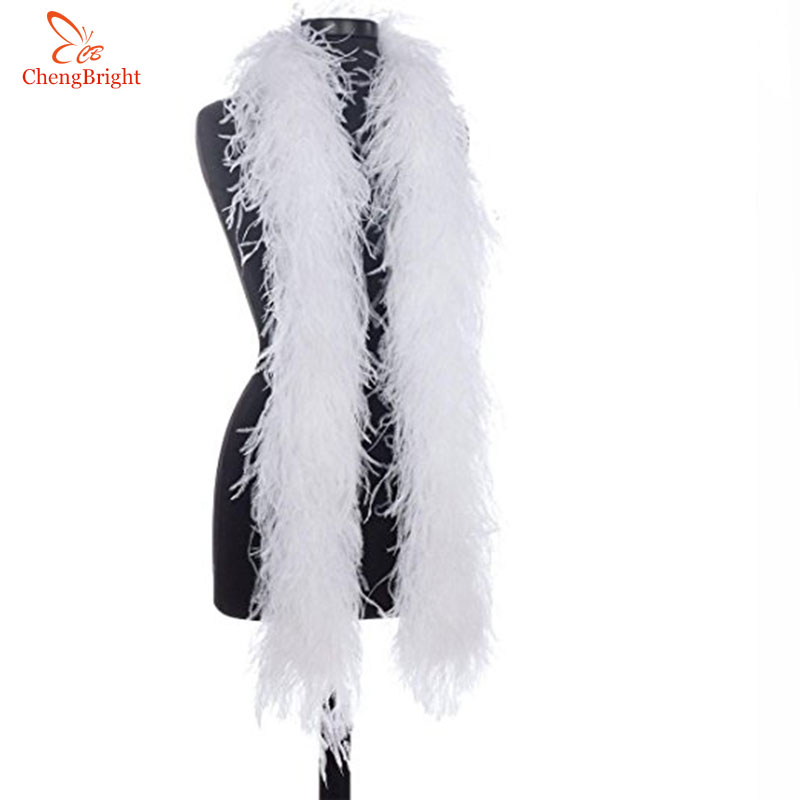 ChengBright 2 Yards Lot Fluffy Natural Ostrich Feather Boa Costumes Trim For Party Costume Shawl Craft