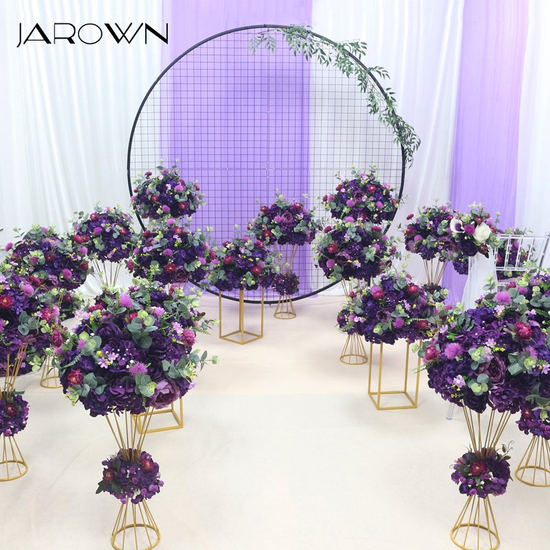 JAROWN Custom Wedding Color Artificial Rose Hydrangea Flower Ball Flower Row Arch Stand Set Party Decor