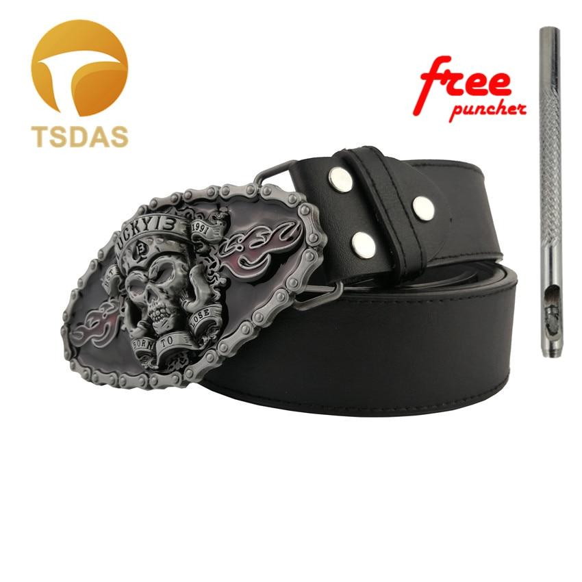 Fashion 3D LUCKY 13 Skull Metal Belt Buckles For 4cm Belt Luxury Mens Belt Buckle Jeans Accessories Gift
