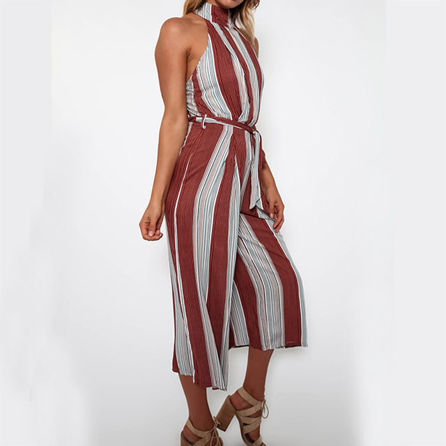 Women Summer Fashion Striped Print Jumpsuit Casual Rompers Halter Sleeveless Back Wide Leg Jumpsuit with Belt Backless Female