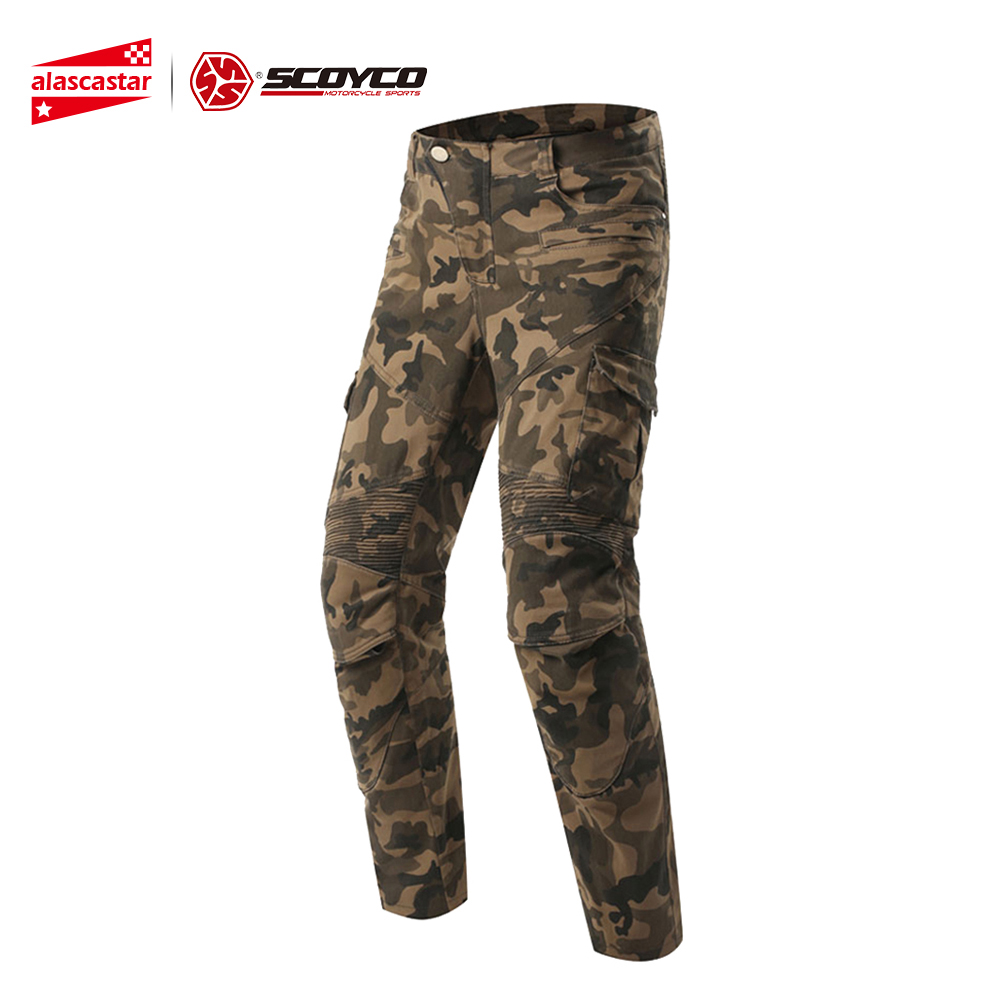 SCOYCO Motorcycle Pants Motorcycle Camouflage Jeans Motocross Trousers Off-Road Racing Moto Pants Motorbike Jeans with Protector amu motorcycle jeans camouflage denim biker motorbike racing pants motocross moto pants protective gear with protector