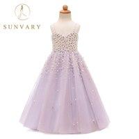 Sunvary İnciler Tül Çiçek Kız Elbise Balo Boncuk Prenses Düğün Parti Elbise Spagetti Düğün İlk Communion Elbise