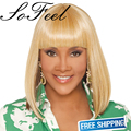 Sofeel synthetic wigs pelucas sinteticas neat bangs short blonde straight hair for women's  peruca loira hair wig