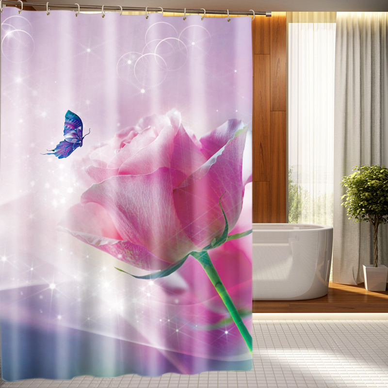 Festive Pink Rose And Butterfly Pattern 3D Shower Curtains Waterproof Thickened Bath Curtains For Bathroom Customizable