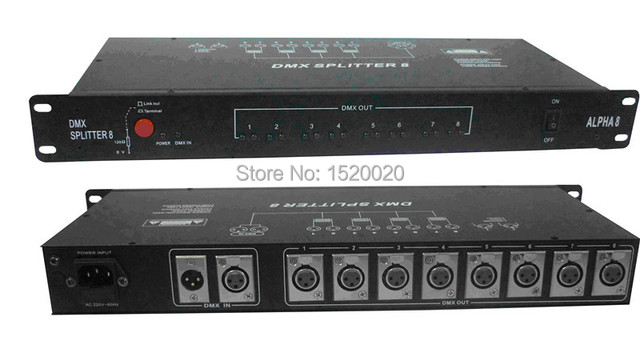 8 Routes Dmx Signal Driver Amplifier DMX Splitter 8 Output ...