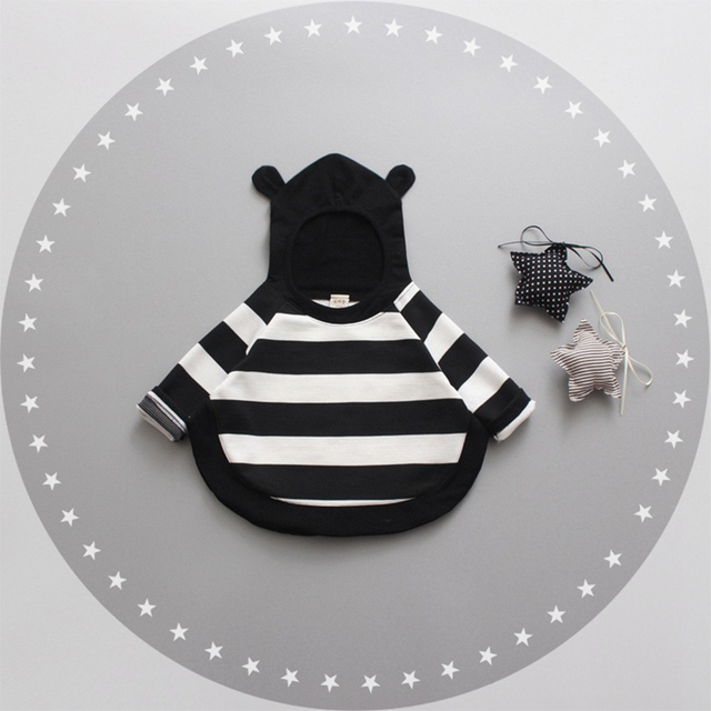 Baby Girls Hoodies New Arrival Autumn 2016 Long Sleeve Striped Cartoon Ear Pullover Baby Sweatshirt Toddler Girls Clothing 0-3Y