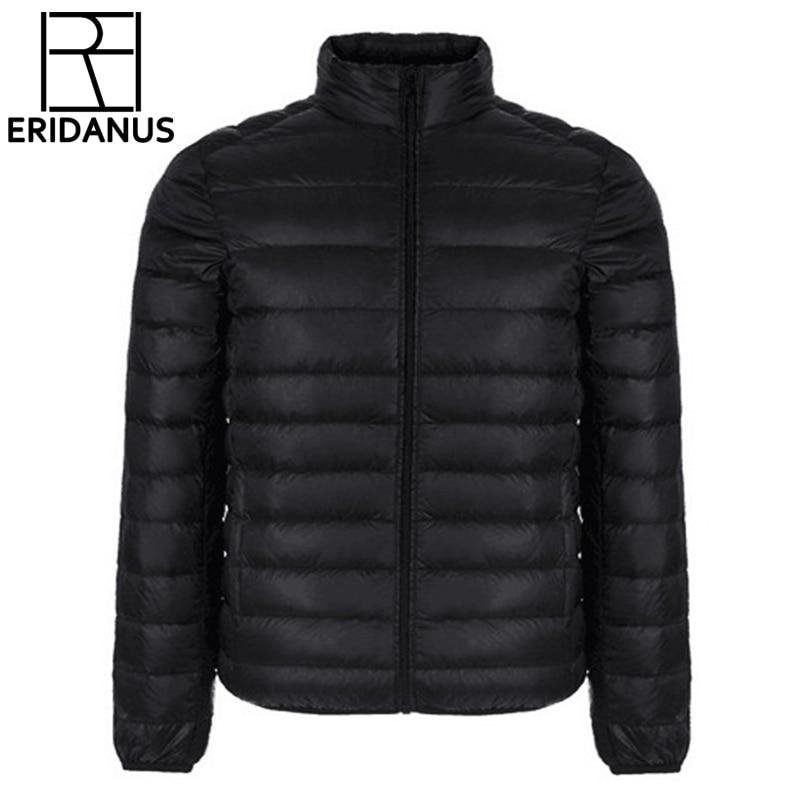 Зимняя куртка Для мужчин 2017, Новая мода Для мужчин короткий ультра-тонкий легкий Пуховое Пальто Стенд воротник простой Дизайн одноцветное Куртки M415