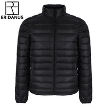 Winter Jacket Men 2017 New Fashion Men's Short Ultra-thin Lightweight Down Coats Stand Collar Simple Design Solid Jackets M415