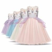 Girl Dress Brand New Summer Cartoon Unicorn Party Dresses For Girls Fancy Applique Beads Princess Tutu